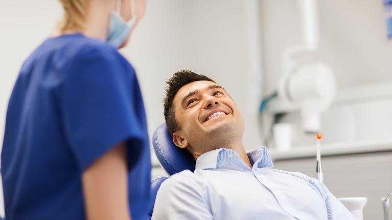 Man waiting for a dental cleaning in Columbus MS | 37905 Dentist